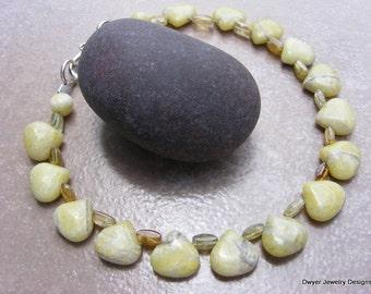 Snow Lemon Jade and Hessonite Garnet Bracelet.