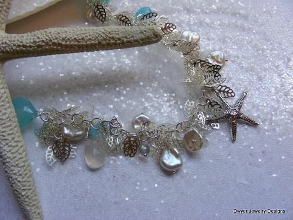 Stunning Aqua Chalcedony Bracelet. Sterling Silver. Nautical. Starfish. Keishi Pearls. Moonstone. Coastal.