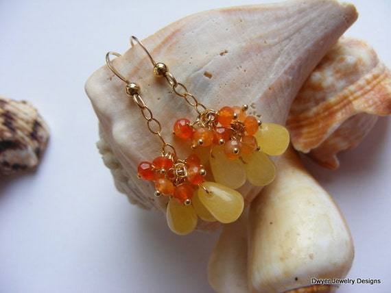 Carnelian and Yellow Jade Earrings.  Orange. Yellow. Gold Filled. Cluster.