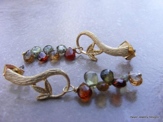 Tundra Sapphire Earrings in Matte Gold Setting.