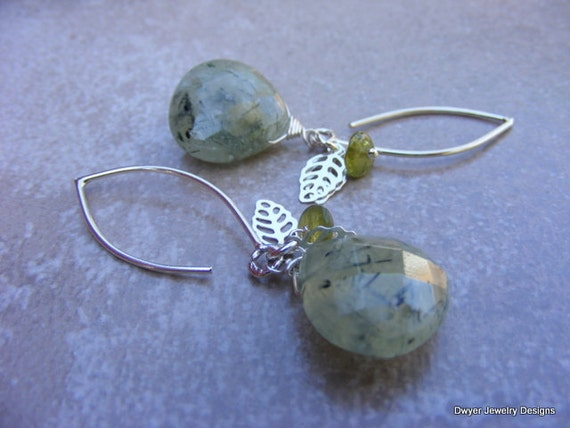 Prehnite and Vessonite Earrings with Sterling Silver Leaf.