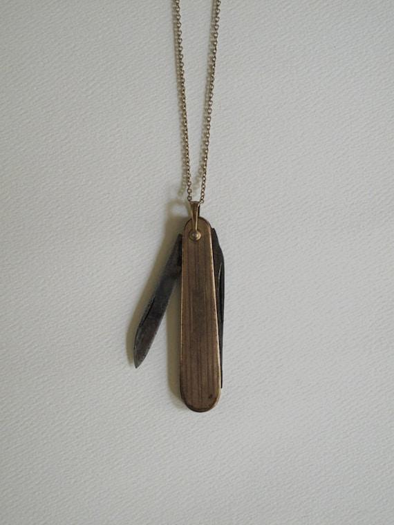 Gold Plated Pocket Knife Necklace