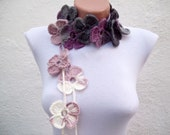 Flower Lariat Scarf, Crochet Scarves, Lariat Crocheted Necklace, Long Jewelery, Women Accessories, Variegated, Lilac, Purple, White