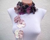 Flower Lariat Scarf,Crochet Scarf,Lariat Scarf,,Crochet Necklace