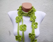 Crochet Lariat Scarf,Green,Flower Daisy Scarf,Long Necklace