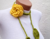 Hand crochet Lariat Scarf Green Yellow Flower Lariat Scarf Long Necklace Holiday Accessories