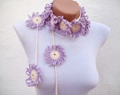 Hand crochet Scarf,Lariat Scarf,Flower Scarf Long Necklace