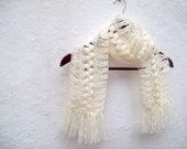 Hand crochet Scarf Cream  Long Winter Accessories Holiday Accessories Spring Celebrations