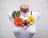 Felted Flower Necklace Yellow Orange Fall Fashion Holiday Accessories Spring Celebrations