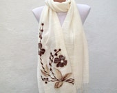 Felted Flowered Scarf  Shawl Cotton  fabric Scarf  Cream Brown Fall Fashion Wedding Accessories women scarf mothers day