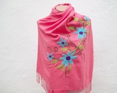 Felted Flowered Scarf  Shawl Cotton  fabric Scarf  Peach Turquoise Fall Fashion Holiday Accessories