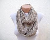 infinity scarf Loop scarf Neckwarmer Necklace scarf Fabric scarf green  cream brown