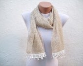 Handmade Traditional Turkish Fabric Scarf-Guipure Scarf -cream-rectangle