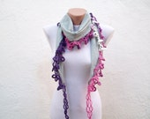 Handmade Traditional Turkish Fabric Scarf-Crochet Oya-grey pink purple-cotton scarf
