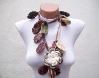 Removeable Brooch Pin,Crochet Lariat Scarf,Flower Leaf Necklace