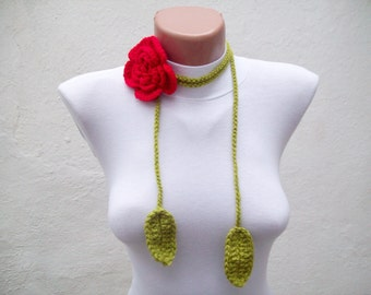 Hand crochet Lariat Scarf Red Green Flower Lariat Scarf  Long Necklace Holiday Accessories  women scarf mothers day