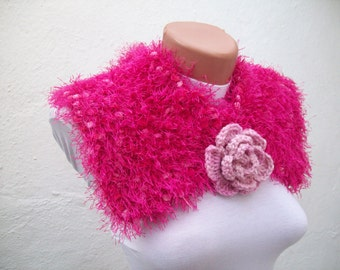 Removeable Brooch Pin Handknit Pink Neckwarmer Wrap Flower  Winter fashion women scarf mothers day