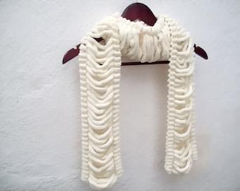 Pom pom Knit Scarf, Knitting Long Scarves, Mulberry Accessories, Cocoon, Neckwarmer, Women Cowl, Cream Pompom