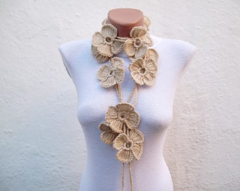 Floral Scarf, Crochet Lariat Jewelery, Flower Scarves, Crocheted Necklace, Women Winter Accessories, Spring scarf, Beige brown