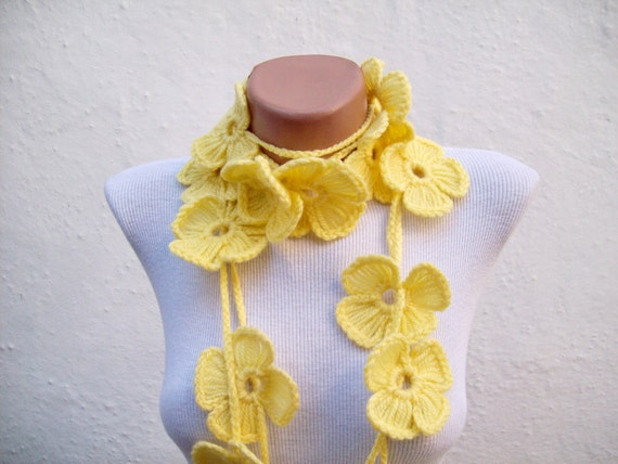 Yellow,Scarf, Flower Scarf, Crochet Lariat Scarf, Long Necklace
