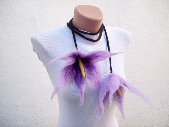 Felted Flower  Scarf Necklace Purple Lilac Black  Lariat Scarf Fall Fashion Holiday Accessories