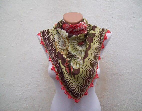 Handmade Traditional Turkish Fabric Scarf-Crochet Oya-brown green red