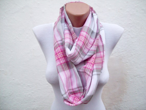 infinity scarf Loop scarf Neckwarmer Necklace scarf Fabric scarf  White Pink Greey  Gift Ideas Women scarf