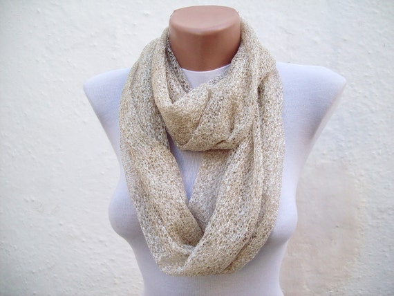 infinity scarf Loop scarf Neckwarmer Necklace scarf Fabric scarf  Cream  Holiday Accessories