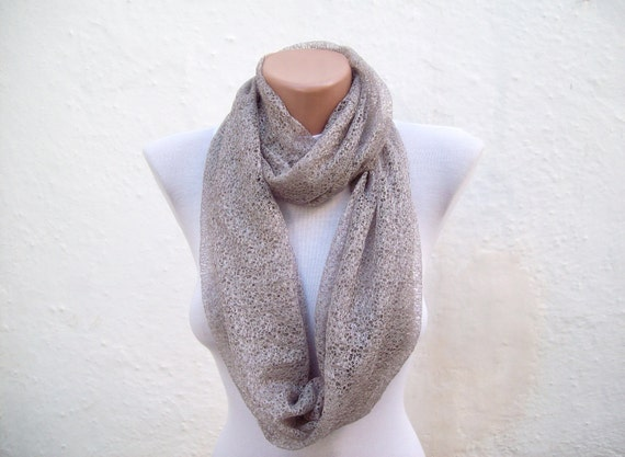 infinity scarf Loop scarf Neckwarmer Necklace scarf Fabric scarf  Cream Brown  Holiday Accessories