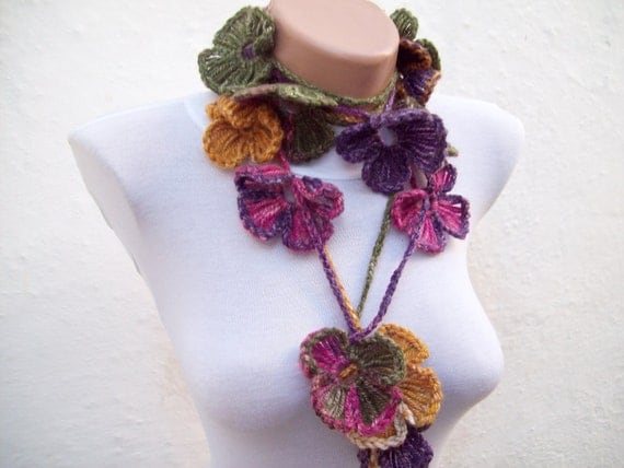 Hand crochet Lariat Scarf  Pink Purple Green  Flower Lariat Scarf Colorful Variegated Long Necklace  winter fashion Valentines gift