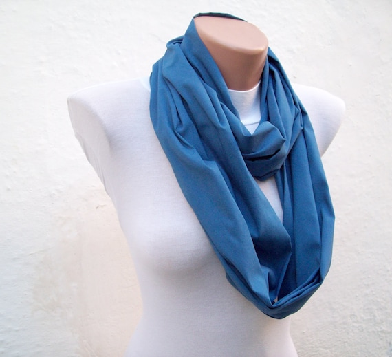 infinity scarf Loop scarf Neckwarmer Necklace scarf Fabric scarf  Blue