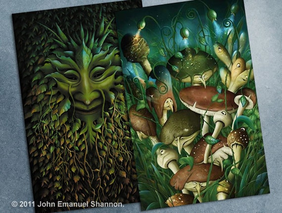 postcard set - 2 Fantasy Art Cards Green man and Shrooms by John Emanuel Shannon