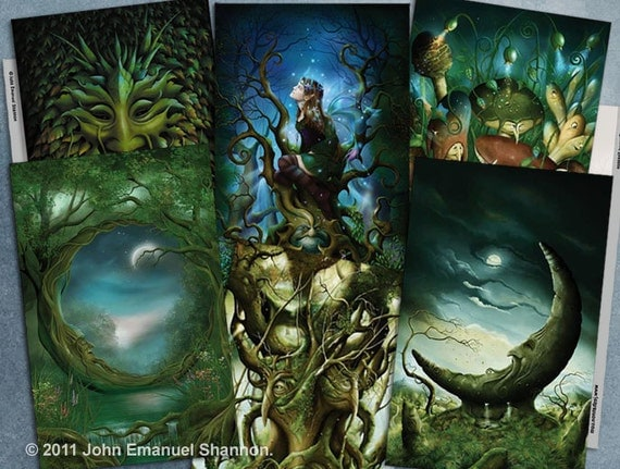 post card set 6 Fantasy Art Cards by John Emanuel Shannon
