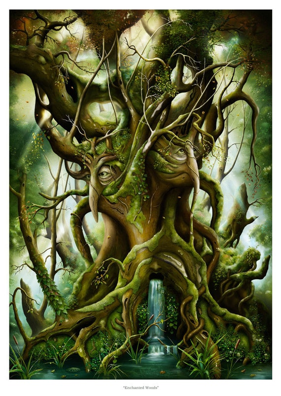 Art Print - Enchanted Woods - Magic Tree - A3 (11.7x16.5)  Print by John Emanuel Shannon