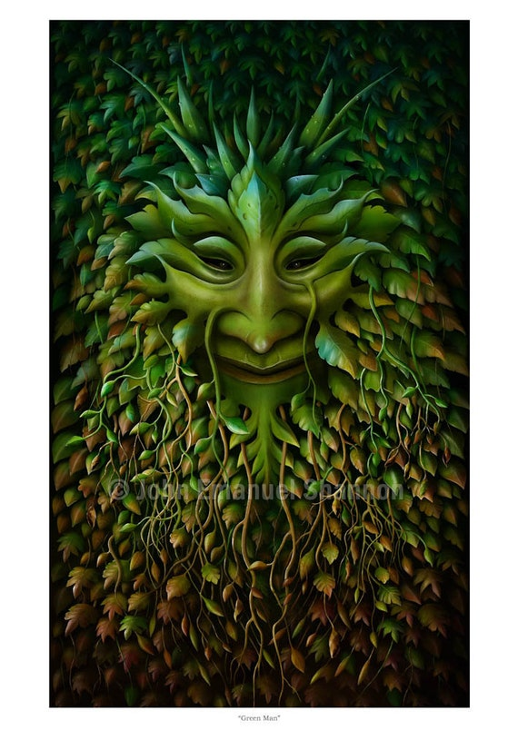 Art Print - Green Man -  A3 (11.7x16.5) print by John Emanuel Shannon