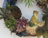 OOAK Wild Spring Jungle Leopard MOM and Baby Wreath Home Decor