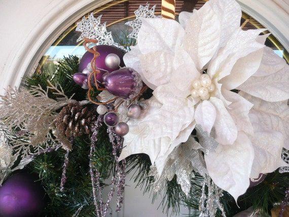 RESERVED for Michelle Bugge OOAK Elegant  Holiday Angel Christmas Front Door Wreath 24 x 26 x 7