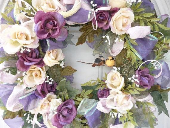 OOAK Wedding Chiffon Cottage Chic HOme Decor Silk Handmade Gift  Wreath 19 x 17 x 6