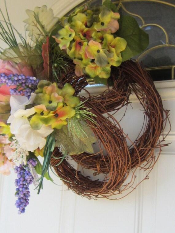 OOAK Three Tiered Zen Country Rustic Shabby Chic Rose Hydrangea Beauty Geometric Front Door Home Decor 14 x 17 x 9