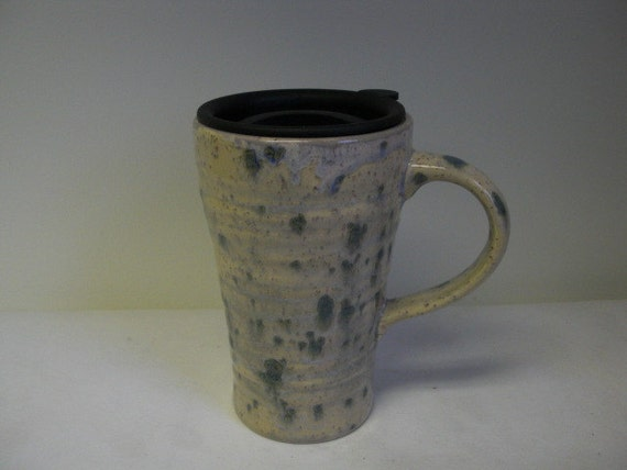 Beige and Cream Color Burst Hand Painted Ceramic Travel Mug with Lid - Desert Mist
