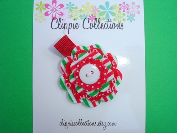 Christmas hair clip - Clearance sale - Stripes Dots and Ho Ho Ho clippie - Fabric and felt flower - red green and white - no slip