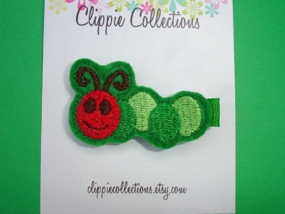 Happy Happy Caterpillar - Green felt caterpillar hair clip - no slip