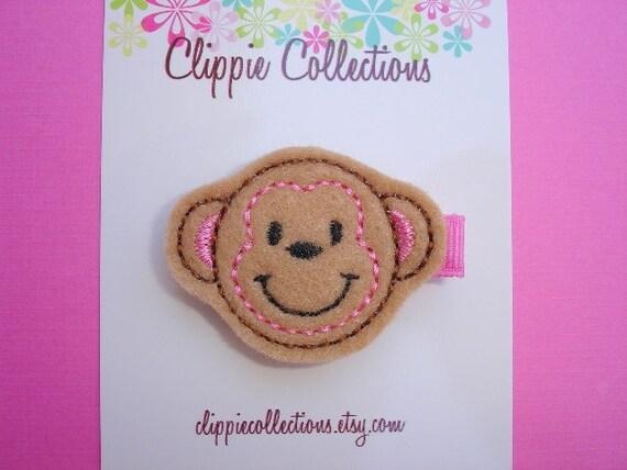 Silly Monkey clippie - Tan felt monkey hair clip - no slip