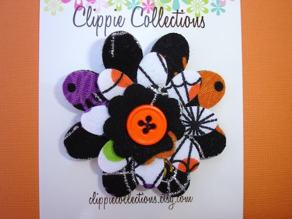 Clearance SALE - Felt and fabric flower hair clip - Halloween black white orange glitter prints - no slip