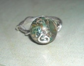Green Jasper Sterling Silver Wire Wrapped Ring Green Ring Brown Ring Tan Ring Camo Ring OOAK Handmade Jasper Ring - Camouflage