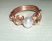 Freshwater Pearl And Crystal Copper Wire Wrapped Ring June Birthday Handmade Copper Fashion Ring Swarovski Crystal Pearl Ring