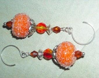 Orange Lampwork Earrings Orange Earrings Handmade Silver Earrings Fire Opal Crystal Earrings Under 25 - Orange Crush