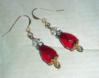 Ruby Czech Glass Teardrop Gold Filled Earrings Red White Gold Earrings Wedding Fashion Classic Graduation July Birthday