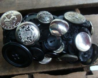 ON SALE Silver And Black Vintage Button Bracelet