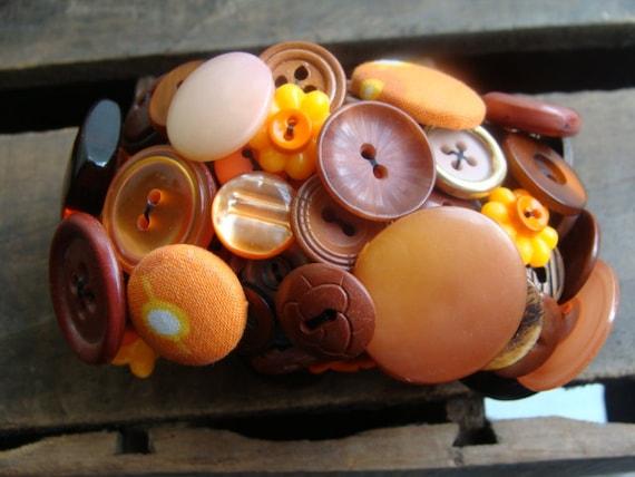 ON SALE Dark Orange Vintage Button Bracelet